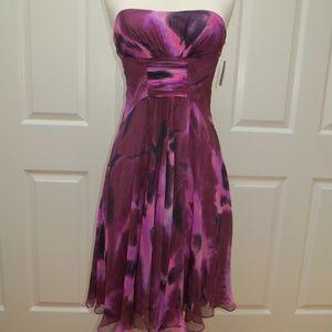 AIDAN MATTOX Burgundy Strapless Dress - Size 2